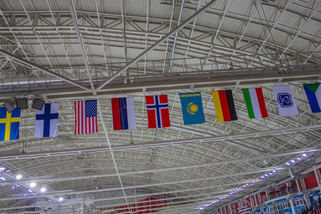 The World Bandy Championship, a winter sport. The flags of the national teams hang under the roof of the ice palace of sports. The arrangement is diagonal.