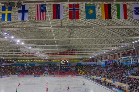 Hockey with ball, international games. A covered ice arena, there are many spectators in the stands. On the field hockey players and referees. Under the roof are national flags.