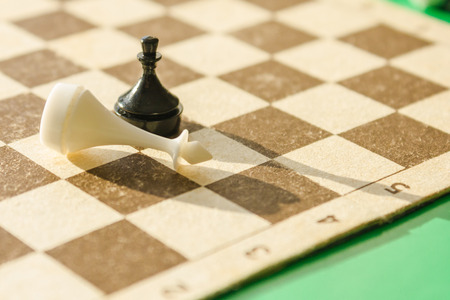 Figures on the chessboard. A black pawn beat the white king. Defeated enemy, unequal forces. Unexpected win. Bright sunlight. 스톡 콘텐츠