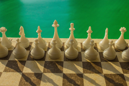 There are two rows of white figures on the chessboard. The starting position before the start. Calculation, analysis of the first step. Lateral lighting, green background.
