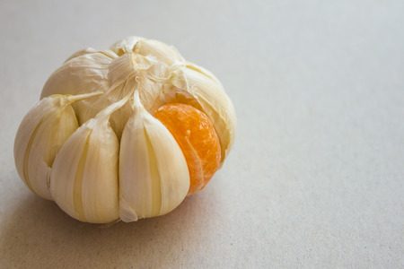 Garlic bulb with white slices. One lobule is bright, orange, sweet, from mandarin. Alien place, insider, the best, the other. Natural lighting, light background. Banco de Imagens