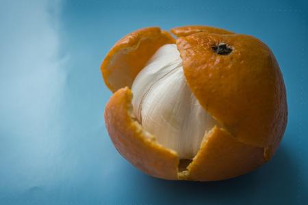 Bulbo de ajo en piel de naranja de mandarina. Qué fastidio, vanas expectativas, molestias, sueños incumplidos. Fondo azul, iluminación lateral, viñeteado. Foto de archivo - 97926581