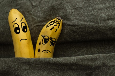 The wife is offended by her husband. Family quarrel. Two bananas in a matrimonial bed, a metaphor. The picture is made by the author.