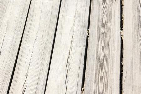 Light unpainted boards, flooring, wooden floor. Countryside, natural texture. Daylight.
