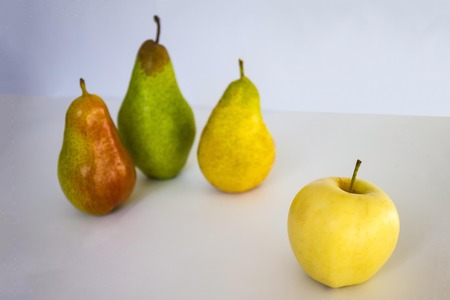 Three different pears and one apple. The difference in shapes and colors, dissimilarity. Choice, alternative. The background is blurred.