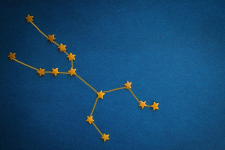 Yellow stars on a blue background. A schematic image of the constellation Taurus. Prediction by date of birth. Vignetting, top view. Figure made by the author. Stok Fotoğraf