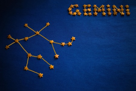 Yellow stars lined constellation and the inscription Gemini. Astrology, zodiac signs. Vignetting, drawing made by the author.