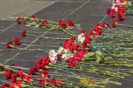 Memorial to the dead soldiers, granite slab. Live, red flowers as a symbol of memory, sorrow. Victory Day, a minute of silence.