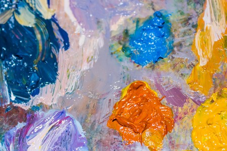Mix, art, painting. Bright colored spots, oil paints. Abstraction, fun background.