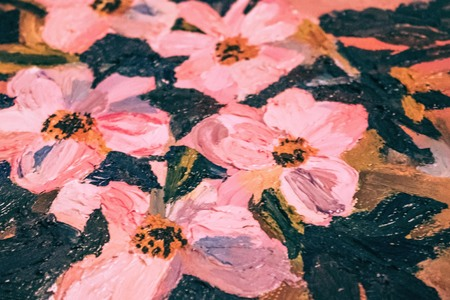 Pink flowers, oil painting on canvas. Art, creative. The background is blurred. Imagens