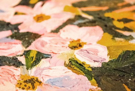 Creativity, skill painter, painting. A fragment of the picture, light pink flowers, large strokes. The background is blurred.
