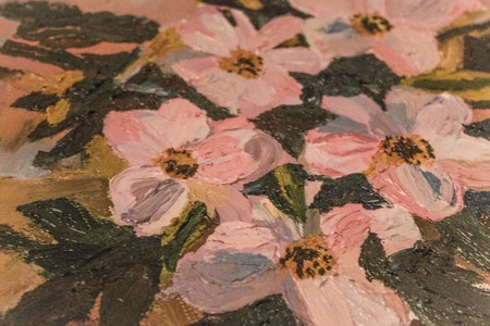 Painting, a fragment of the picture, pink flowers, green leaves, still life. Large, thick strokes.