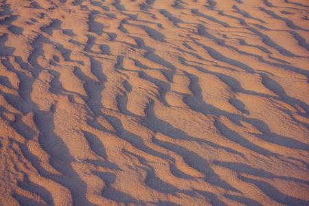 Sandy surface, natural landscape. Wavy lines, shadows. Evening sunlight. Violet toning.