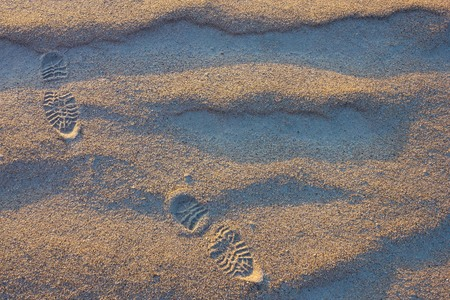 Sand, natural texture. Relief tracks from shoes. Road, path, walking route. View from above. Lateral solar lighting.
