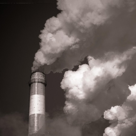 The impact of industry on the ecology. Environmental pollution. In black and white, copy space. Imagens - 122434503