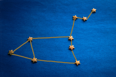 Eastern horoscope, astrological prediction. Yellow stars on a blue background. Copy space, vignetting. The picture is made by the author. Imagens