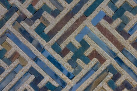 Pattern on a concrete wall, vintage ornament. Gray, blue tones.