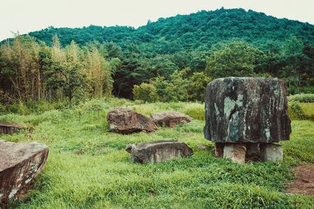 Ancient burial places, stone gravestones. Around the green grass, away hills, forest.