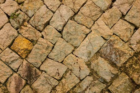 Large stones are laid diagonally. The surface is covered with moss, lichen, dry stems of plants. Natural texture. 版權商用圖片