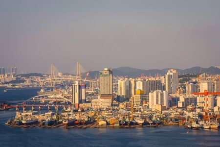 Busan seaport panorama, ships in the harbor. On the shore are tall modern buildings. Away the bridge, the hills. View from the water. Evening lighting, sunset.