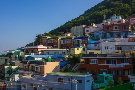 Little colored houses on the mountain, rookery. Busan landmark. Travel to Korea. Bright sunny day, summer.