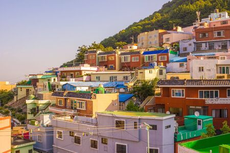 South Korea, Busan Seaport. The fishing village on the hill, rookery, a tourist attraction. Traveling, interesting places, Korean culture. Solar lighting. Фото со стока