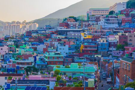 Korea, Busan. City architecture. Houses of different colors and sizes, fishing village. Poor area, cultural attraction. Early summer evening.