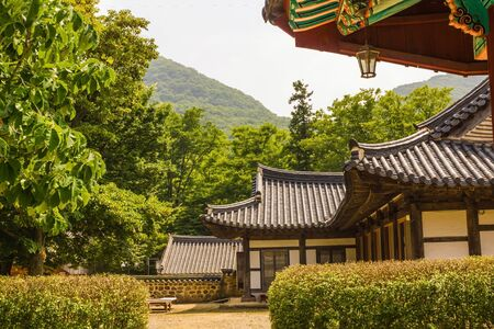 Hanok, a traditional Korean house in the mountains. Old building, tiled roof. Around the green trees, summer.