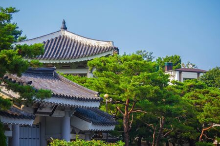 Traveling to South Korea. Traditional tiled roofs against the blue sky. Bright sunshine. Summer day.