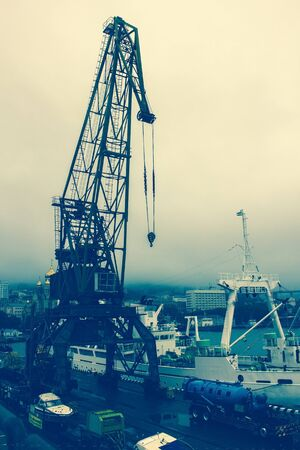 Large cargo crane on a background of cloudy sky. Sea port, bay, cargo ships. Toning. Foto de archivo - 144049380
