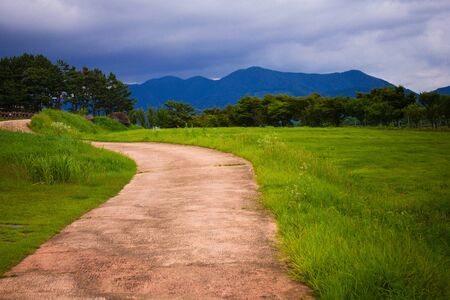 Rural landscape, summer nature. Green grass, trees. Away the blue mountains, cloudy sky. The road goes into the distance. Hiking trip. Vignetting.