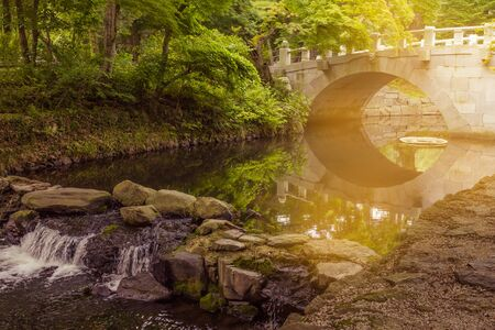 Pond in a city park. Trees and a stone bridge are reflected in the water. Silence, calm, rest. Summer day.