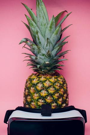 against of fresh pineapple pink fruit food