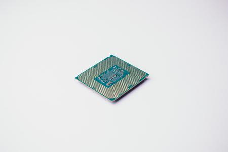 processor voor computer geïsoleerd een gekleurde achtergrond Stockfoto