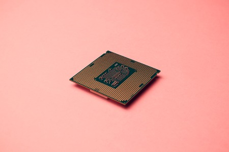 processor for computer isolated a colored background Stockfoto