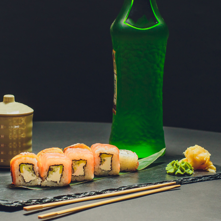 Salmon roll , Japanese favorite food sushi maki color Stock Photo
