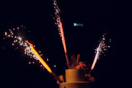Cake with firework Festival Stock Photo