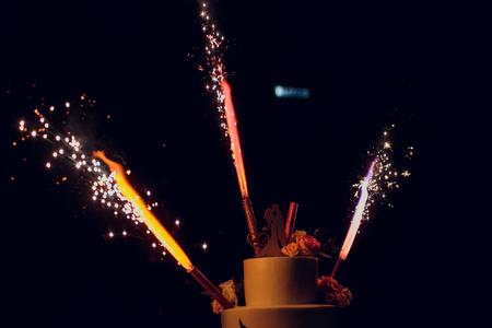 Cake with firework Festival Foto de archivo
