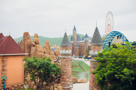 NHA TRANG,VIETNAM - FEBRUARY 17,2018: The Castle at Vinperl Amusement Park on Hon Tre island. The island boasts of luxury resorts and a theme park.