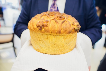 Weding korovai - bread, most often used at weddings, where it has great symbolic meaning. Wedding loaf. Russia Stock Photo