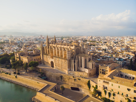 Aerial cityscape of Palma de Mallorca with the cathedral, Balearic Islands, Spain 写真素材