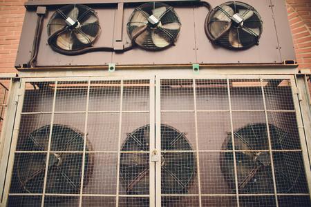 Cooling industrial air conditioning units closeup. Fans closeup