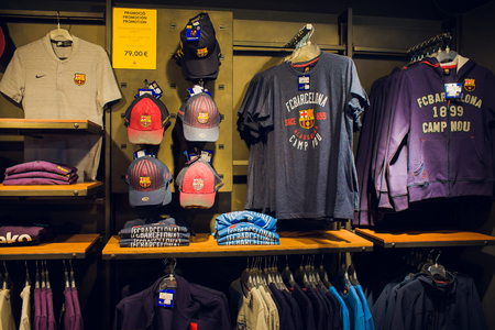 BARCELONA, SPAIN - AUGUST 10, 2018: Entrance the FCB Futbol Club Barcelona official store located in Passeig de Gracia, where architectural jewels stand side by side with most prestigious shops. Editorial