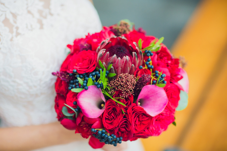 bride holds a beautiful wedding bouquet. color Standard-Bild
