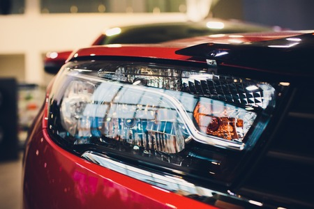 Close up detail on one of the LED headlights modern car Banque d'images