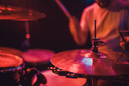 Professional drum set closeup. Drummer with drums, live music concert Stock fotó - 111969967