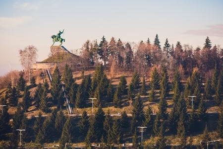 Monument Salavat Yulayev, Ufa, Bashkortostan, Russia sunset, bird's eye view Banco de Imagens