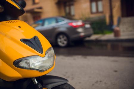 focus on headlamp. Retro motorcycle with headlight