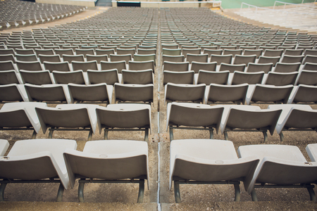 BARCELONA, SPAIN - AUGUST 10, 2018: View of bench or seat or chair of staff coach in the stadium of football.