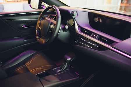 Leather upholstery inside the car modern interior. Banque d'images